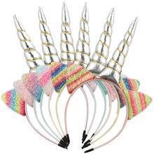 """10 шт./лот повязки на голову для девочек повязка на голову """"Единорог"""", блестками, пайетками вечерние украшение лента для волос для детей Детские аксессуары для волос"""