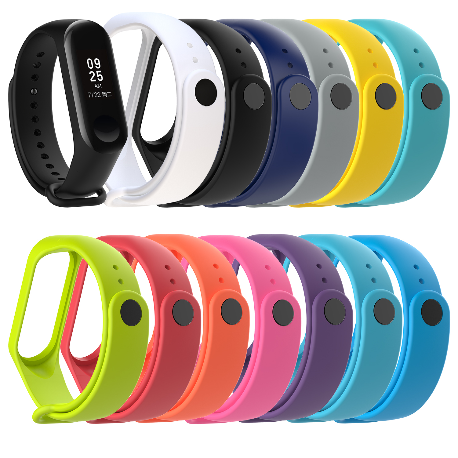 12 Multicolor For Xiaomi Mi Band 4 Strap Replacement For Xiaomi Mi Band 4 Sports Silicone Wrist Strap Bracelet Watch Accessories