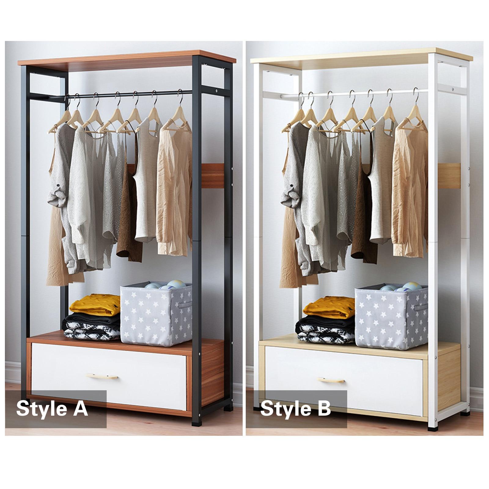 Clothes Rail Rack Garment Dress Hanging Display Stand &Drawer 5 Shelves Wardrobe