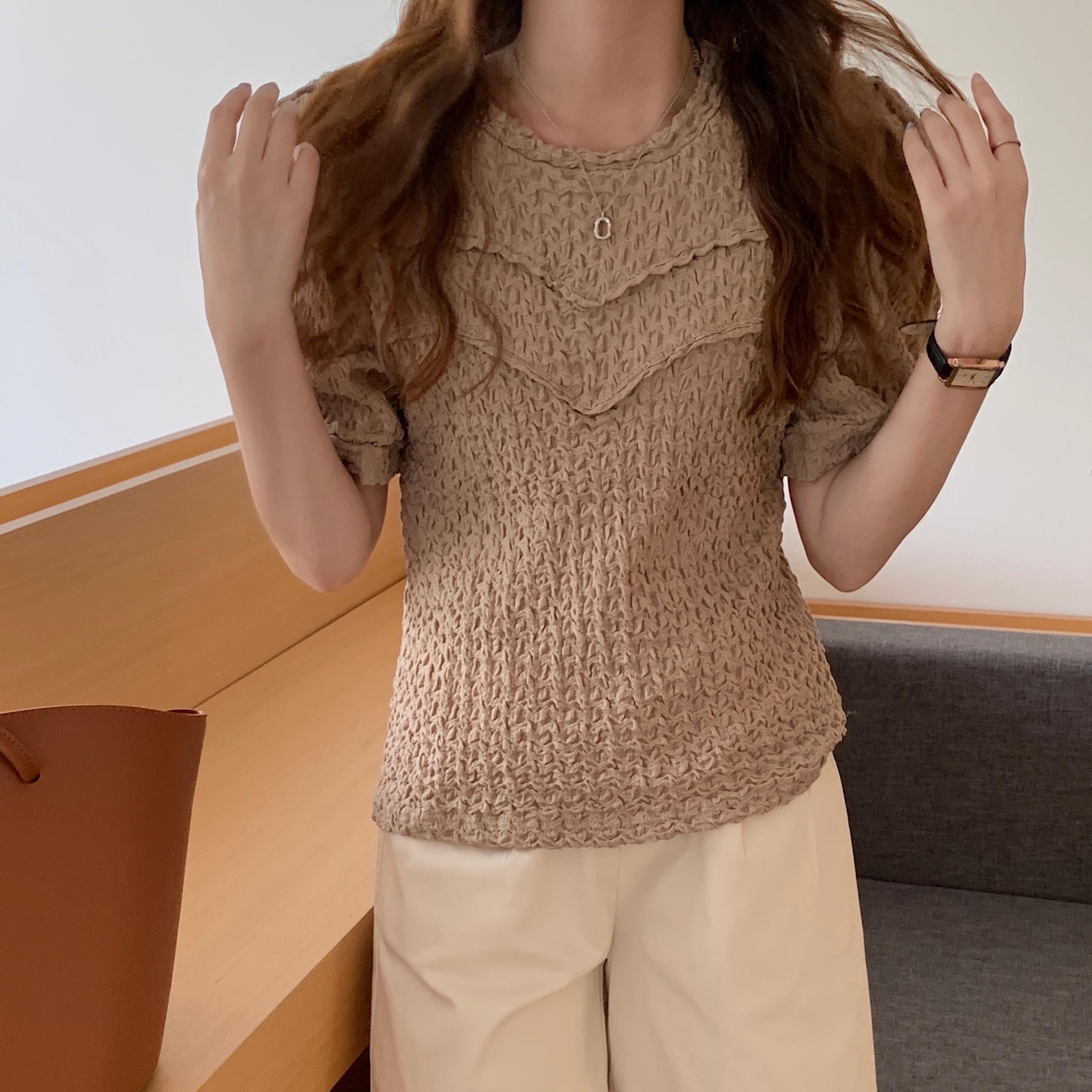 H4a449874f81848c9adb8d779985ae3cf5 - Summer O-Neck Short Sleeves Pleated Blouse