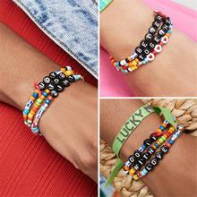 Shinus 3pcs Bohemian Bracelet Women Creative Diy Bracelets Love Letter Pulseras Mujer 2019 Jewelry Handmade Summer Beach Custom