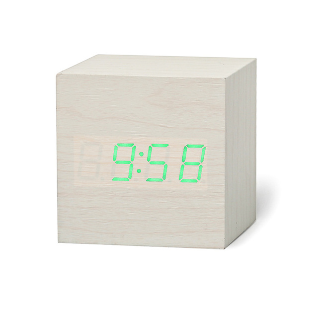 New Qualificato di Legno Digitale LED di Allarme Orologio di Legno Retro Glow Orologio Desktop Da Tavolo Decor Controllo Vocale Funzione Snooze Scrivania Strumenti 5