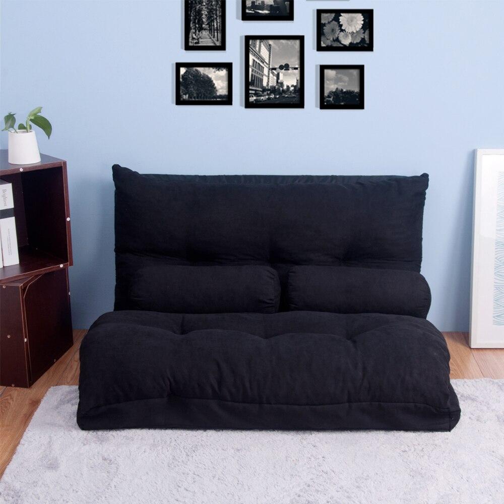 Canapé-lit pliable multifonctionnel réglable Futon canapé paresseux jeu vidéo/salon canapé avec deux oreillers meubles modernes