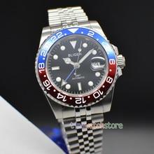 цена Bliger 40mm Black Dial  ceramic bezel sapphire glass date Magnifier GMT stainless steel Automatic movement Men's business Watch онлайн в 2017 году
