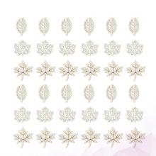 50 sztuk DIY liść dekoracyjne zrębki rzeźbione w drewnie z wgłębieniami w kształcie liści drewna kawałek instrukcja akcesoria Craft Maple Leaf ozdoby (mieszane tanie tanio CN (pochodzenie) wooden slices leaves wooden slices DIY crafts accessories wooden ornaments maple leaf decor wooden slice for home