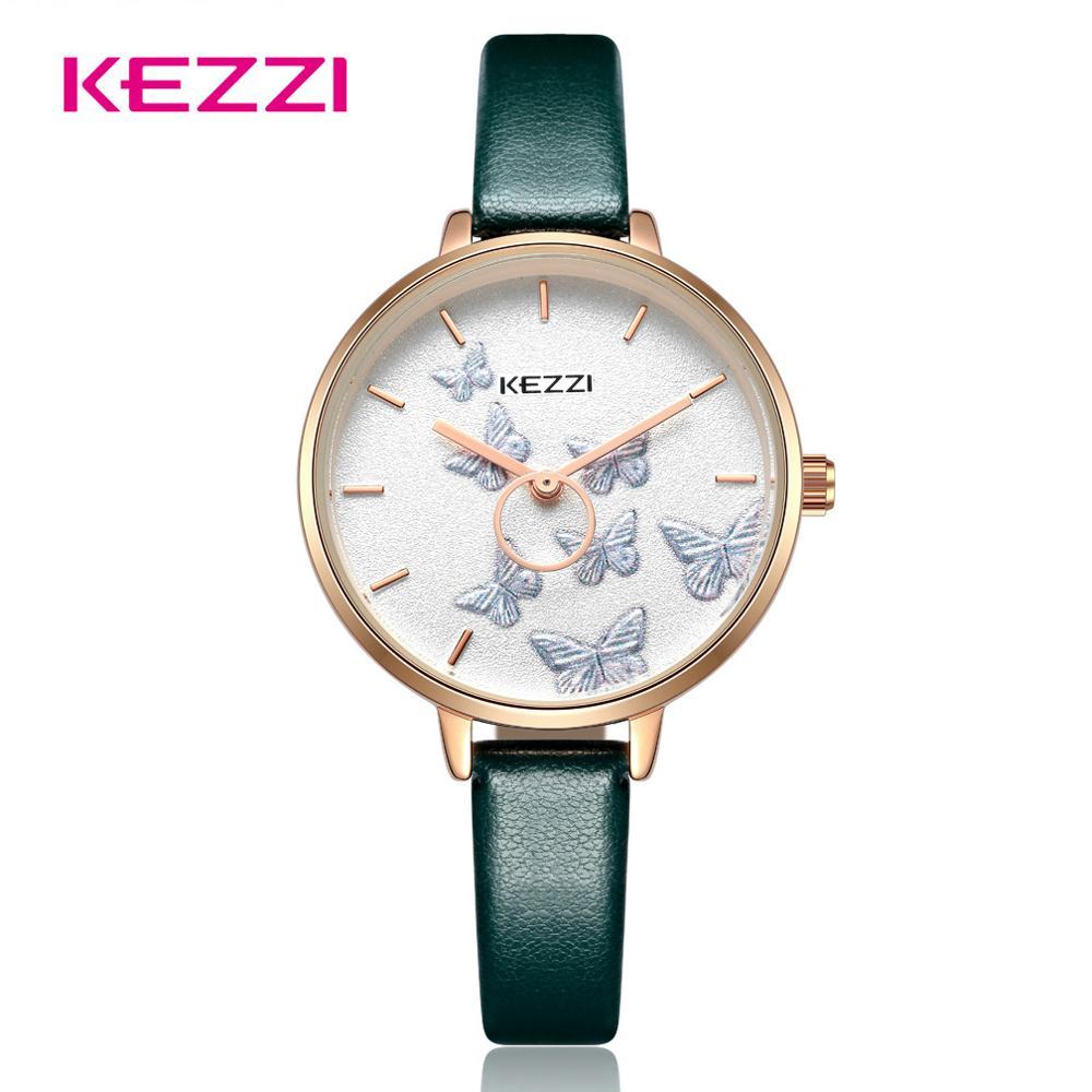Kezzi бренд дамы бабочка часы для женщин кожа Водонепроницаемый Кварцевые часы Женские повседневное модное платье наручные часы подарок для