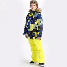 Костюмы для сноуборда для мальчиков; зимняя куртка с брюками; Детские лыжные костюмы; брюки и куртка; зимняя одежда для детей