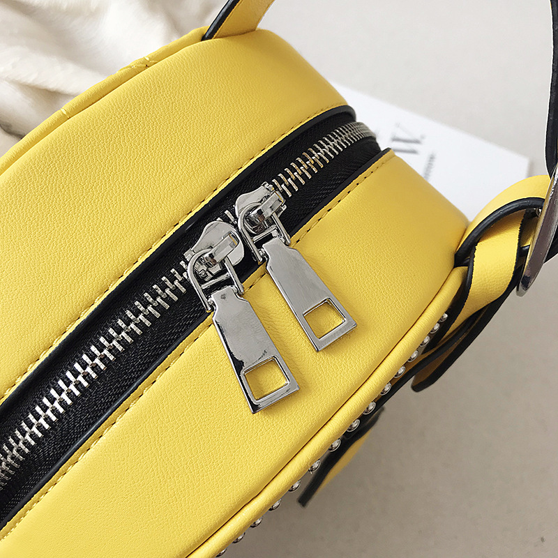 2019 Fashion Round Women Leather Bag Luxury Quilted Small Shoulder Bags Women Travel Handbag Designer Famous Brand Purse Yellow in Top Handle Bags from Luggage Bags