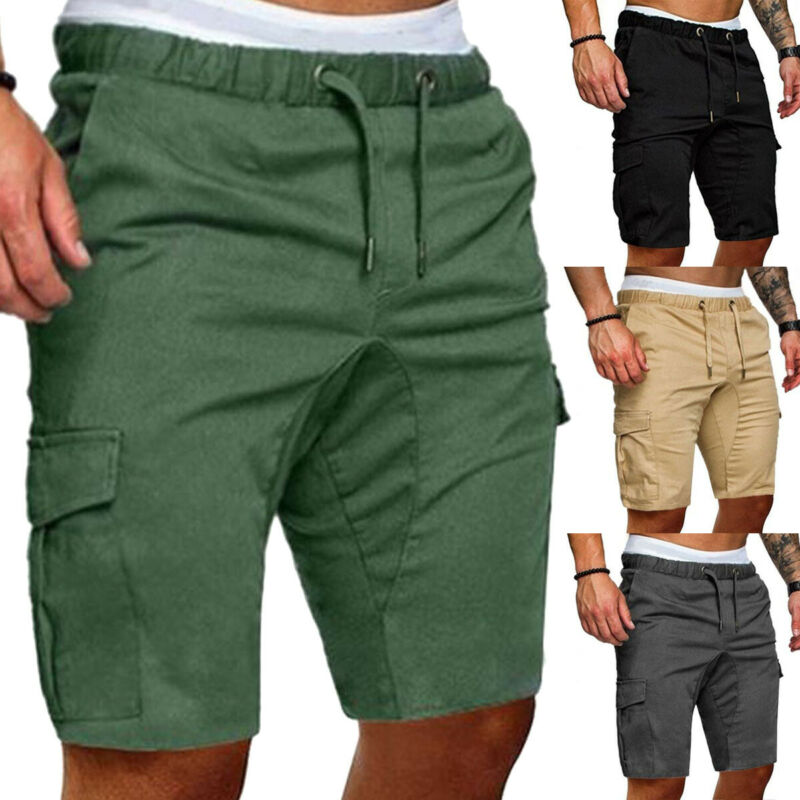 Men Cargo Shorts Cotton Bermuda Male Summer Casual Military Style Straight Work Pocket Lace Up Short Trousers