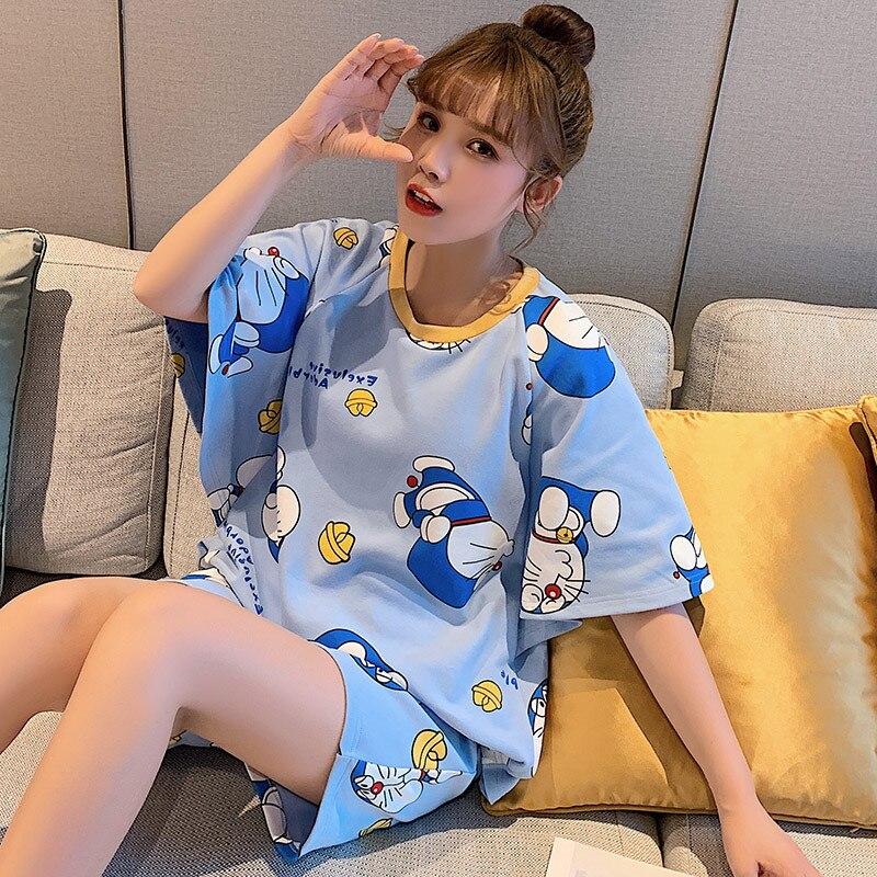 Cartoon Doraemon Cute Print Pajamas Women Comfortable Pajamas Cotton Short Sleeve Ladies Pajamas Set Home Service Casual T-shirt
