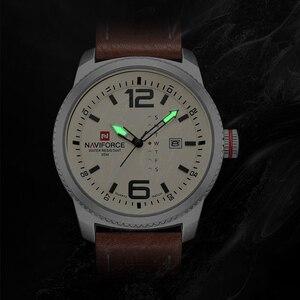 Image 4 - 2020 יוקרה למעלה מותג NAVIFORCE גברים צבאי ספורט שעונים גברים של קוורץ תאריך שעון איש עור שעון יד Relogio Masculino