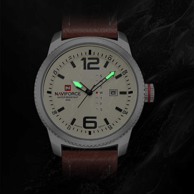 2020 Top Luxe Merk Naviforce Mannen Militaire Sport Horloges Mannen Quartz Datum Klok Man Lederen Polshorloge Relogio Masculino