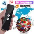 Портативный T8 умный голосовой речевой переводчик двухсторонний в режиме реального времени 40 + многоязычный перевод для обучения путешеств...