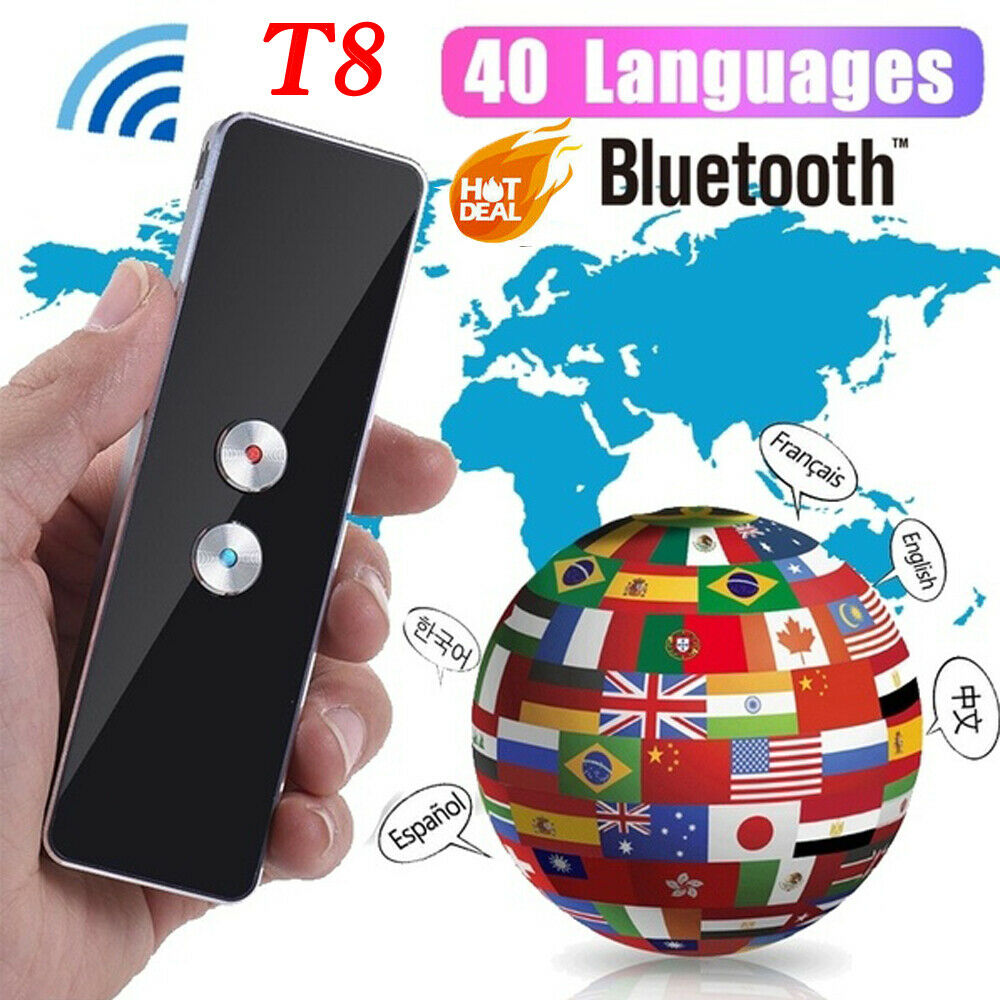 Portable T8 Smart Voice Speech Translator Two-Way Real Time 40+ Multi-Language Translation For Learning Travelling Business Meet image