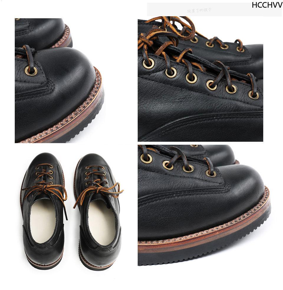 Vente printemps automne laçage cheville bottes basses hommes mode blanc talon carré homme chaussures en cuir hiver grande aile chaussures à la main blanc - 6