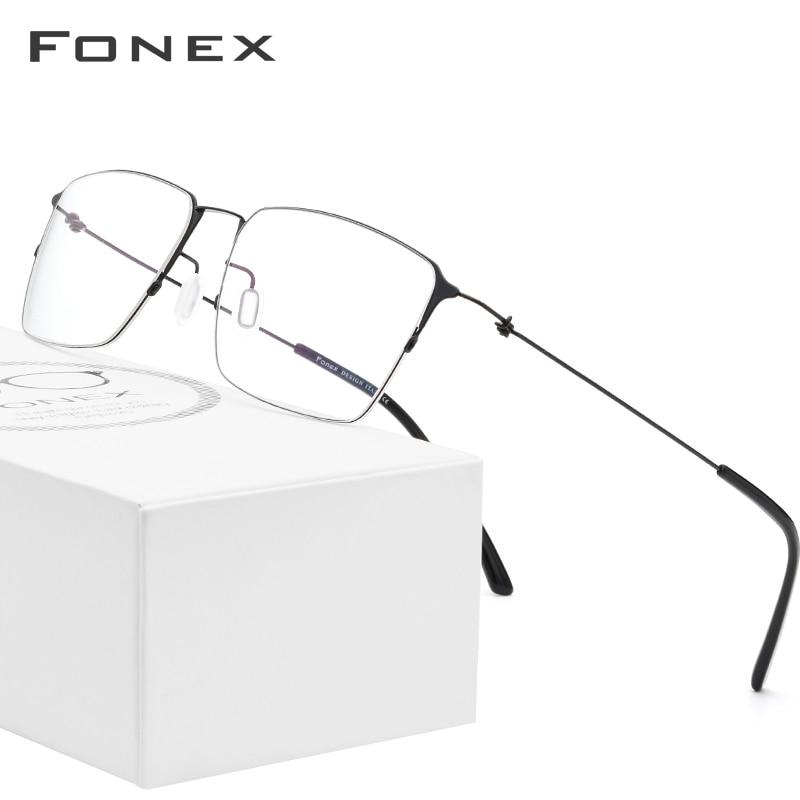 FONEX Titanium Alloy Glasses Men Semi Rimless Prescription Eyeglasses Frame Women Myopia Optical Frame Eyewear Eye Glasses 98611