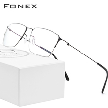 FONEX Glasses Men Eyewear Frame Myopia Semi-Rimless Titanium-Alloy Women 98611