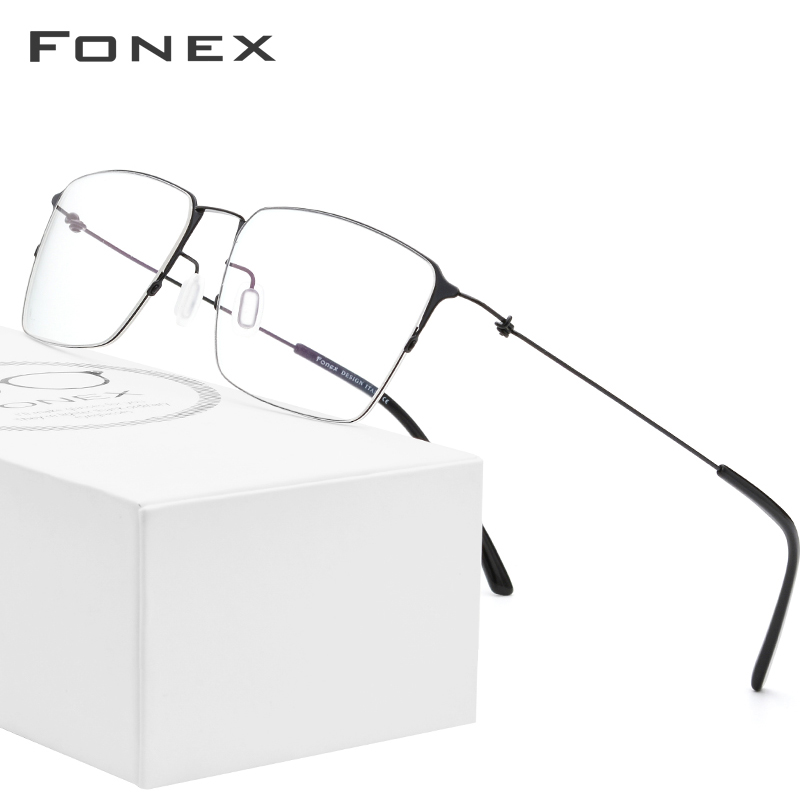 FONEX Titanium Alloy Glasses Men Semi Rimless Prescription Eyeglasses Frame Women Myopia Optical Frame Eyewear Eye Glasses 98611