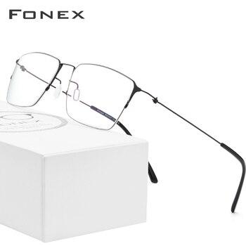 цена на FONEX Titanium Alloy Glasses Men Semi Rimless Prescription Eyeglasses Frame Women Myopia Optical Frame Eyewear Eye Glasses 98611