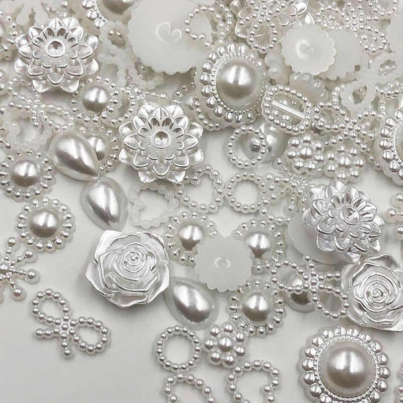 50/100 sztuk biały żywica abs pół okrągły kwiat łuk obcych perły dla sztuki Flatback kryształki bez kleju perłowe buty koraliki DIY telefon