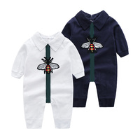 Summer Baby Embroidery animal pattern Long sleeve Jumpsuit Boy Combed Cotton Infant Climbing Clothes Newborn Pajama Out