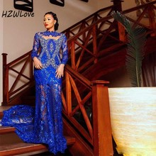 Royal Blue Cut-out Mermaid Evening Dresses With Appliques Beads Sequins вечерние платья Full Sleeves Prom Dress Sheer Back