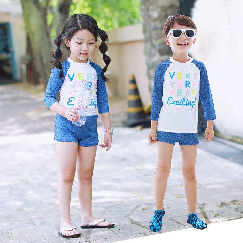 Korean-style New Style Bathing Suit Sun-resistant Long Sleeve Big Kid Children Kid's Swimwear Boy's Girl's Swimsuit
