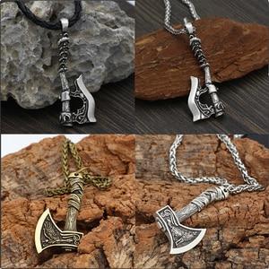 Men's Viking Celtic Wolf Raven Axe Pendant Odin's Symbol scandinavian Rune Leather Rope Nacklace Charm Male norse Amulet Jewelry(China)