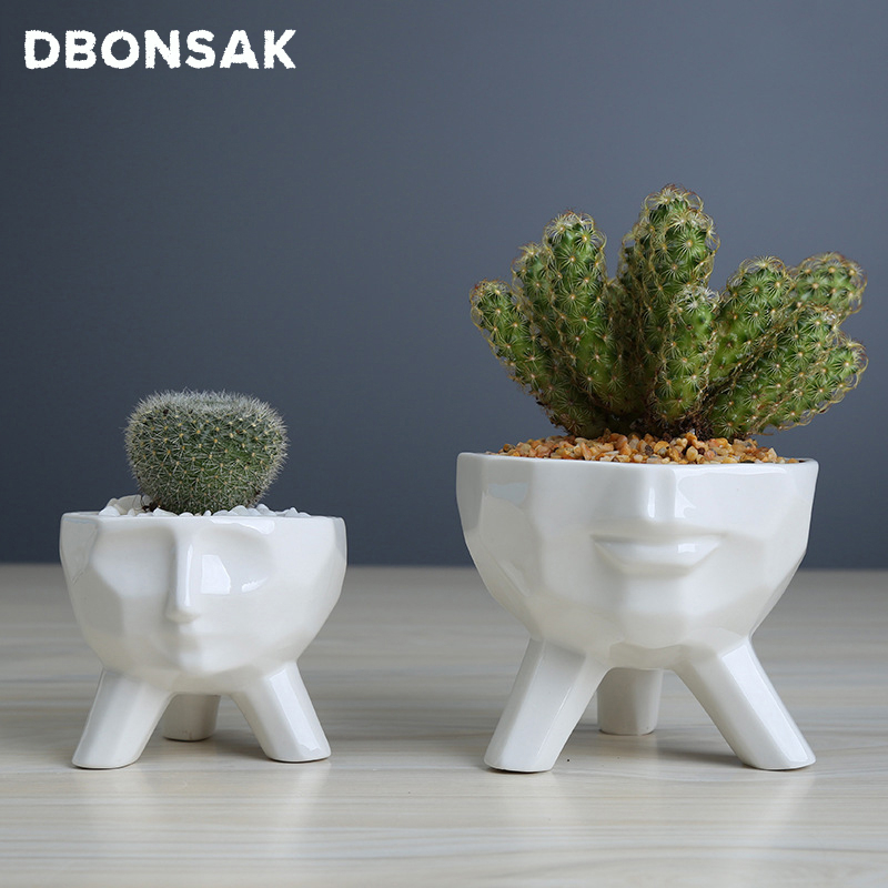 Nordic White Geometric Man Face Ceramics Flower Pot For Succulents Planter Triangle Bracket Container Home Garden Decoration
