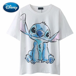 Disney T-Shirt Chic Fashion Stitch Little Monster Cartoon Print Women T-Shirt O-Neck Pullover Short Sleeve Cotton White Tee Tops