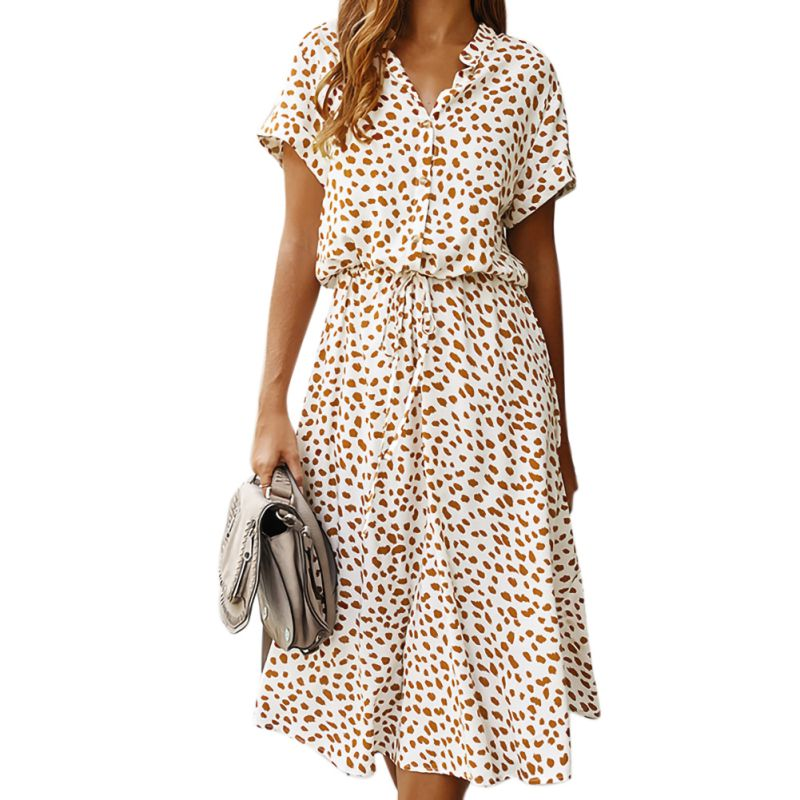 Summer Dress Women Vintage Dress Casual Polka Dot Print A-Line Party Dresses Sexy V-neck Short Sleeve Long Dress Fashion W1