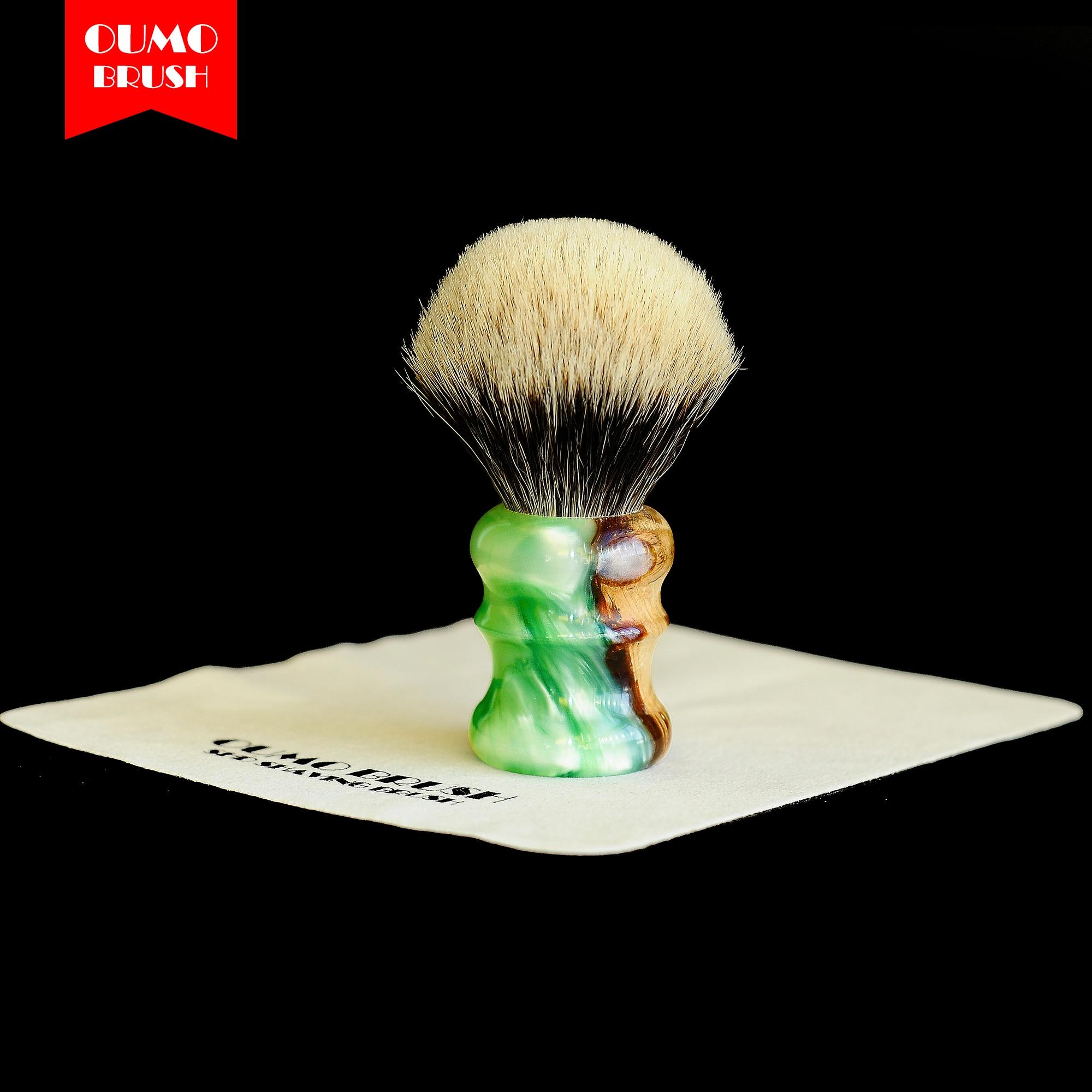 OUMO BRUSH- Sandalwood With Resin SHD Manchuria Badger Knots Shaving Brush Gel Tip