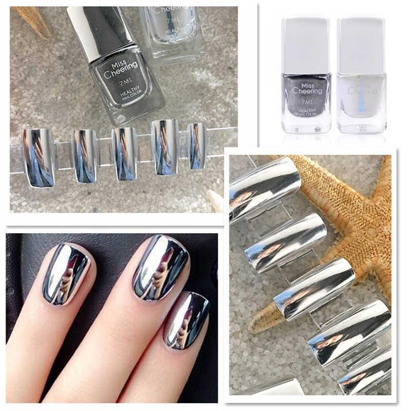 Lustrzany lakier do paznokci srebrny przezroczysty 7ml długotrwały metalowe żel do paznokci polski lakier metaliczny lakier do paznokci do paznokci narzędzia do dekoracji