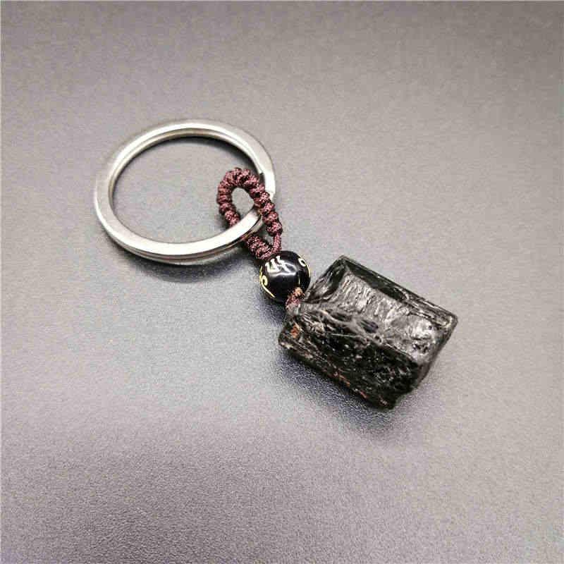 ทัวร์มาลีนสีดำ Ore พวงกุญแจคริสตัลธรรมชาติทัวร์มาลีนสีดำ Nunatak พลังงาน Chakra หินพวงกุญแจ Energy purification