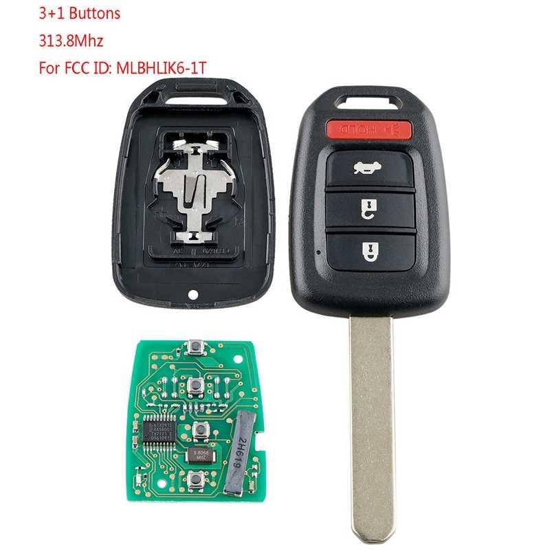 Carro inteligente remoto chave 4 botões carro chave fob apto para honda civic 2014 2015 2016 2017 313.8 mhz Mlbhlik6-1T