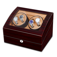 JQUEEN 4 Automatic Watch Winder with 6 Storage Case 5 Working Modes Ebony Wood