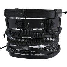 Новые модные мужские браслеты ручной работы 5 шт/компл черные