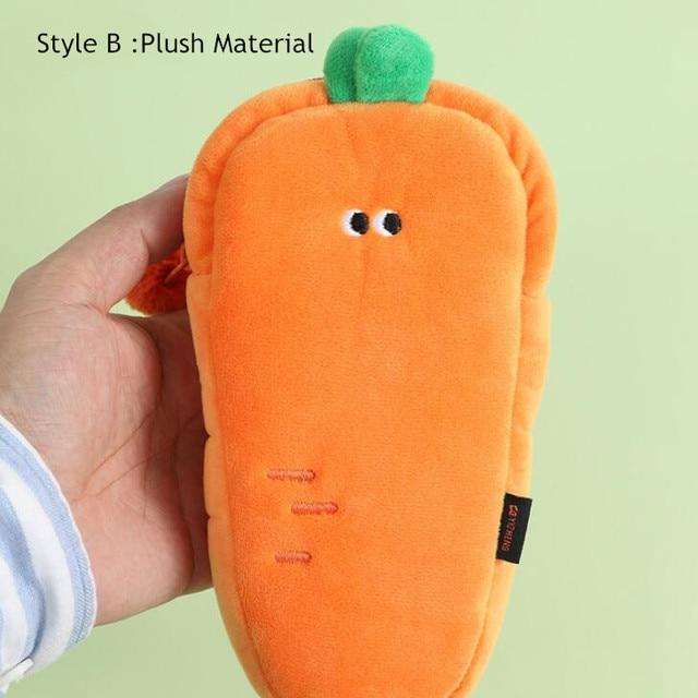 2021 Sharkbang Creative Carrot Series Silicone Soft Pencil Case Penholder Organizer Bag Kawaii Stationery Set Kids