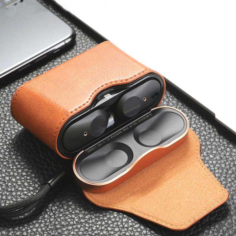 Funda protectora de cuero de lujo para auriculares inalámbricos Sony WF-1000XM3, funda completa de almacenamiento, Protector magnético para auriculares