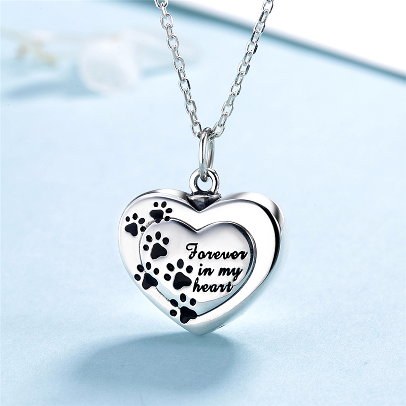Strollgirl 925 sterling silver forever in my heart pendant cremation dog paw coffin necklace commemorative jewelry free shipping in Pendant Necklaces from Jewelry Accessories