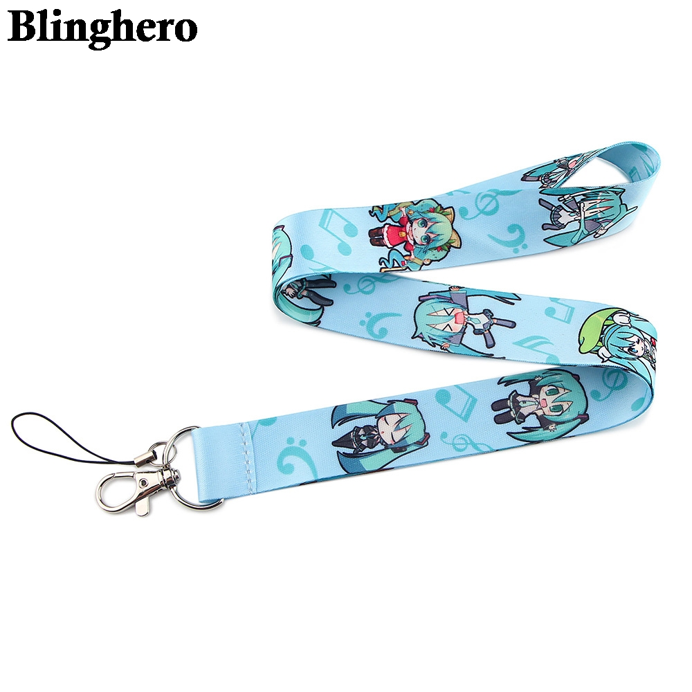CA1425 Wholesale 20pcs/lot Hatsune Miku Neck strap lanyard keychain cellphone strap ID badge holder rope key chain accessory