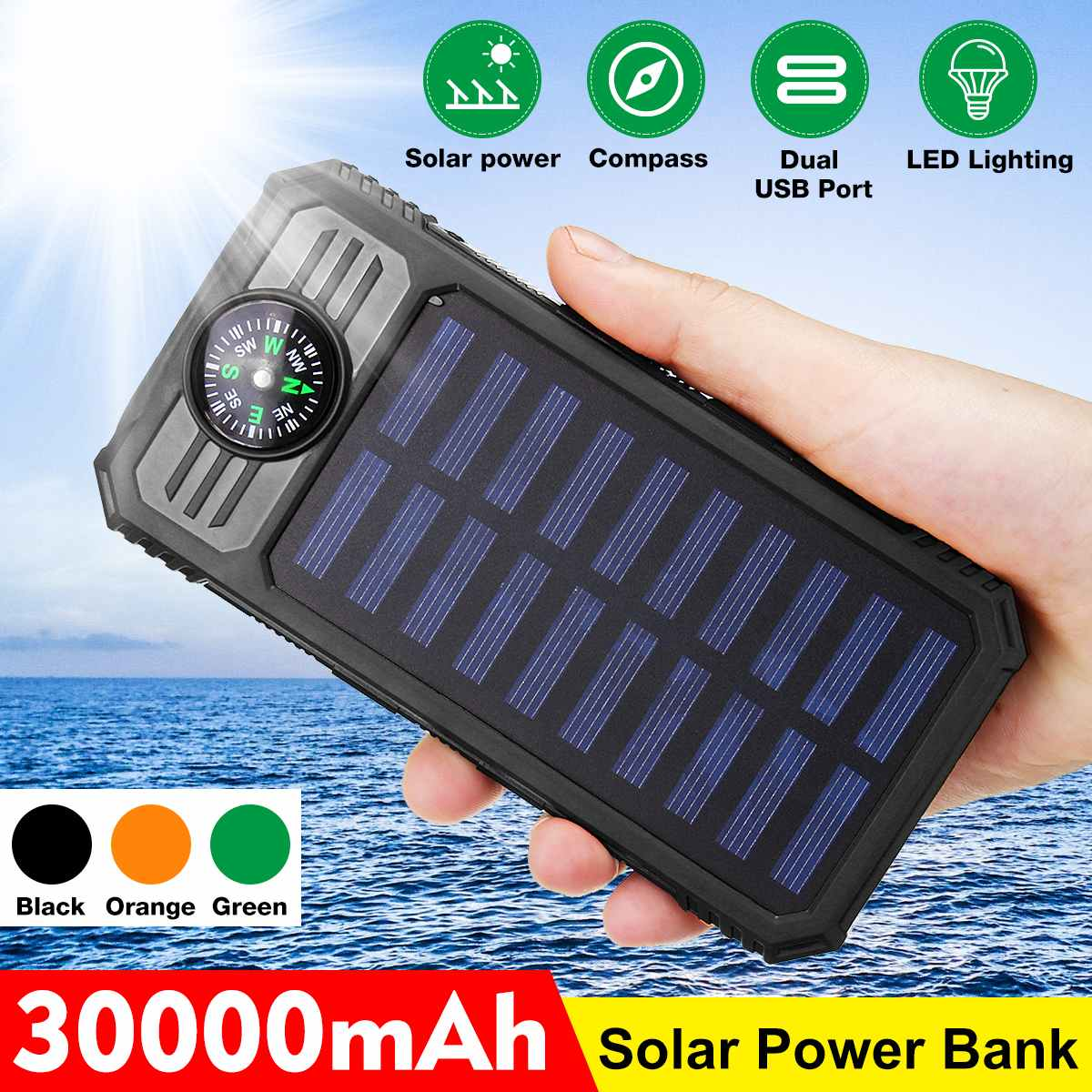 30000mah Solar Power Bank Waterproof Dual Usb Charger Port With Compasses LED Light External Charger Powerbank Phone Universal