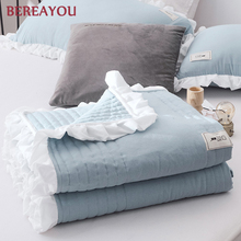 2/3pcs Japanese Washed Cotton Bed Quilts Pillowcase Soft Summer Bedspread Solid Pastoral Linen Queen Size Kids Cover