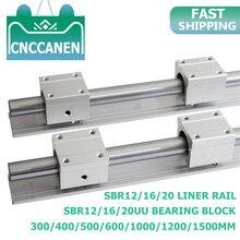 2 шт. SBR12/16/20 20 мм линейная направляющая длина 300-1500 мм полностью поддерживаемая линейная направляющая с SBR20UU линейный подшипник блок CNC часть