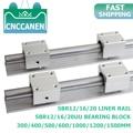 2PCS SBR12 SBR16 SBR20 20mm Linear Guide Rail 300-1500mm Fully Supported Linear Rail with SBR16UU Linear Bearing Block CNC Part