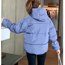 Winter Short Women Hooded parka 2019 New zipper Long sleeve Big fur collar Thick warm fashion Down cotton clothing Female C120