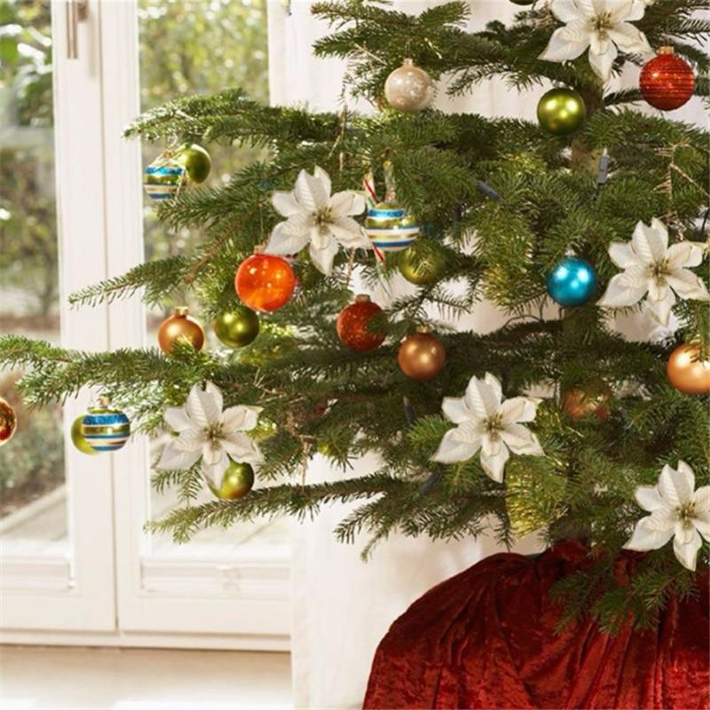 1 قطعة زهور عيد الميلاد الاصطناعية بريق ورد صناعي شجرة عيد ميلاد سعيد زينة للمنزل 2020 هدية عيد الميلاد حلية نافيداد