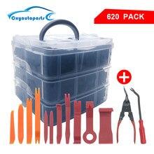 Clipe fixador para porta de carro 620 peças, rebitador para empurrar motor de parafuso com 1/2/2/5/8 pcs ferramentas