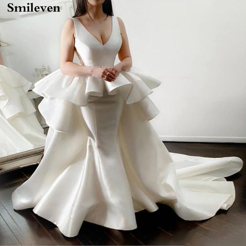 Smileven Mermaid Wedding Dress Unique Satin Sexy V Neck Wedding Gown Vestido De Noiva Bride Dresses