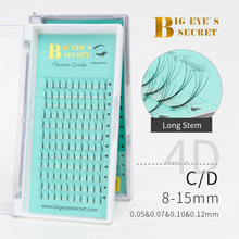 BES Heat Bonded Premade Fans Long Stem Russian Volume Lash Extension 1 Tray 12 Rows Individual Eyelashes 2D-7D
